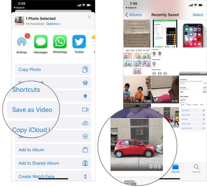 Live Photos Into Videos in iOS 13