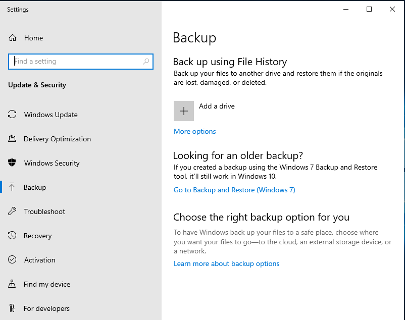Backups settings in Windows 10