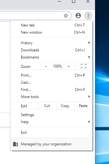 windows 10 options for Chrome