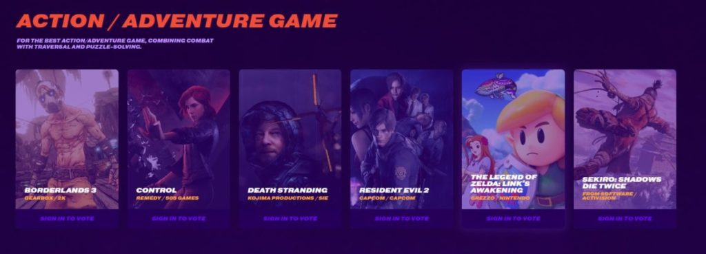 Action Adventure Game Nominees