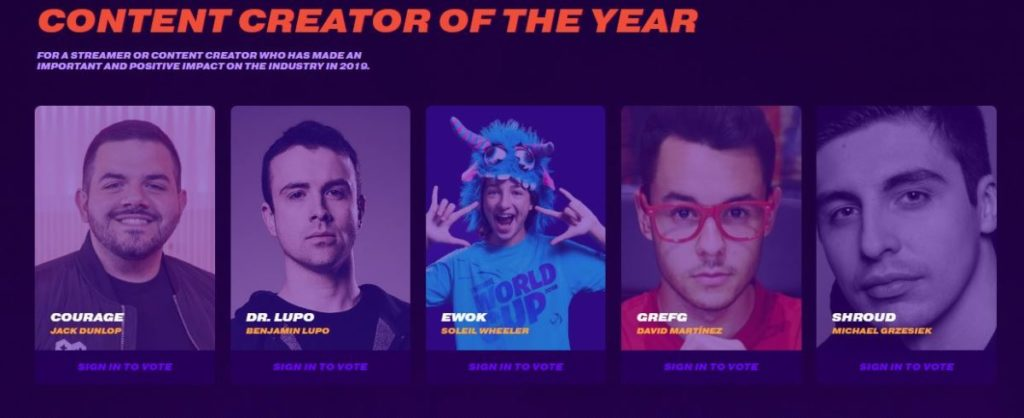 Content Creator of the Year Nominees