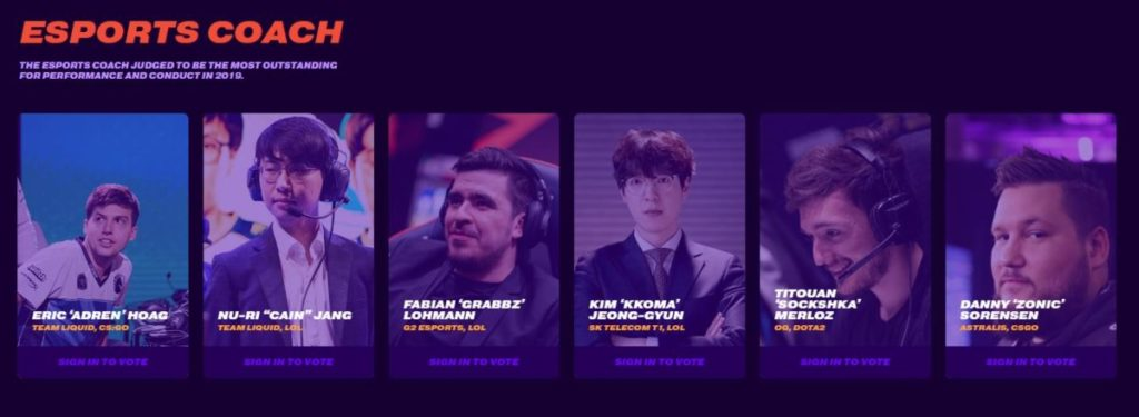 Esports Coach Nominees