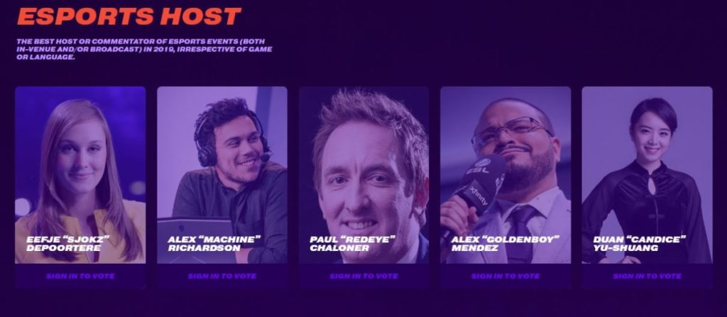 Esports Host Nominees
