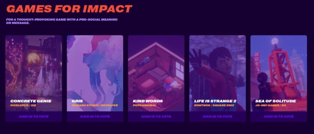 Games For Impact Nominees