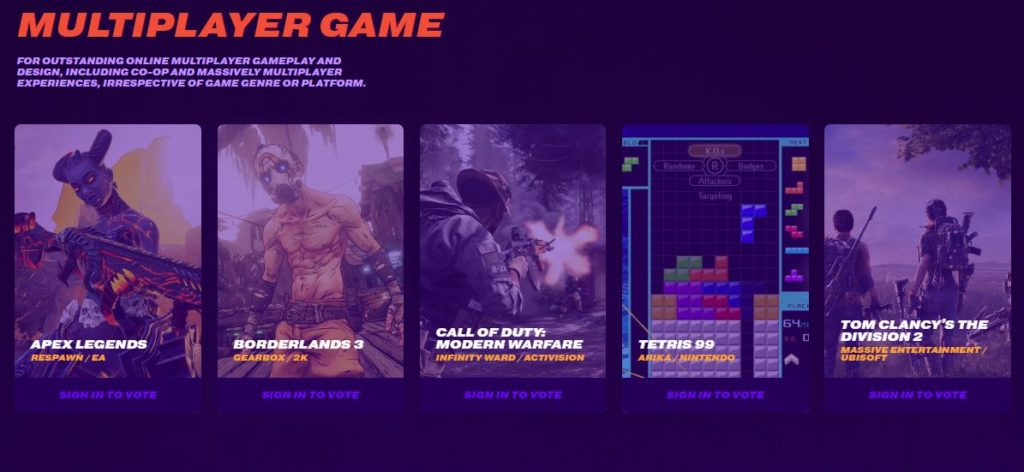 Multiplayer Game Nominees
