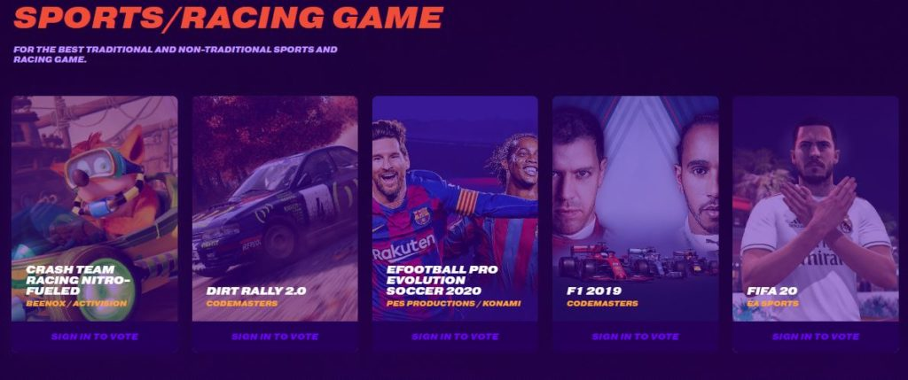 Sports/ Racing Game Nominees