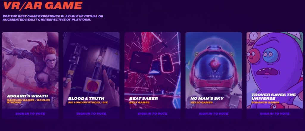 VR Game Nominees