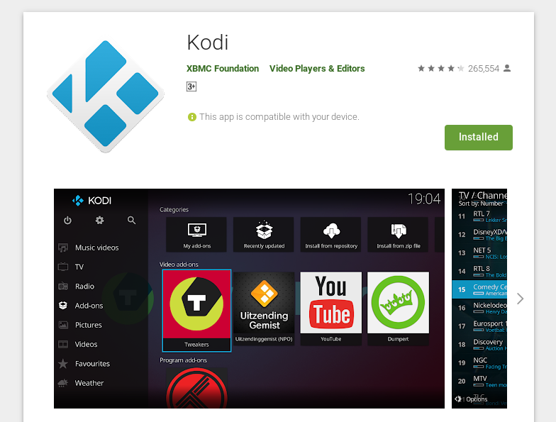 how to update kodi on android