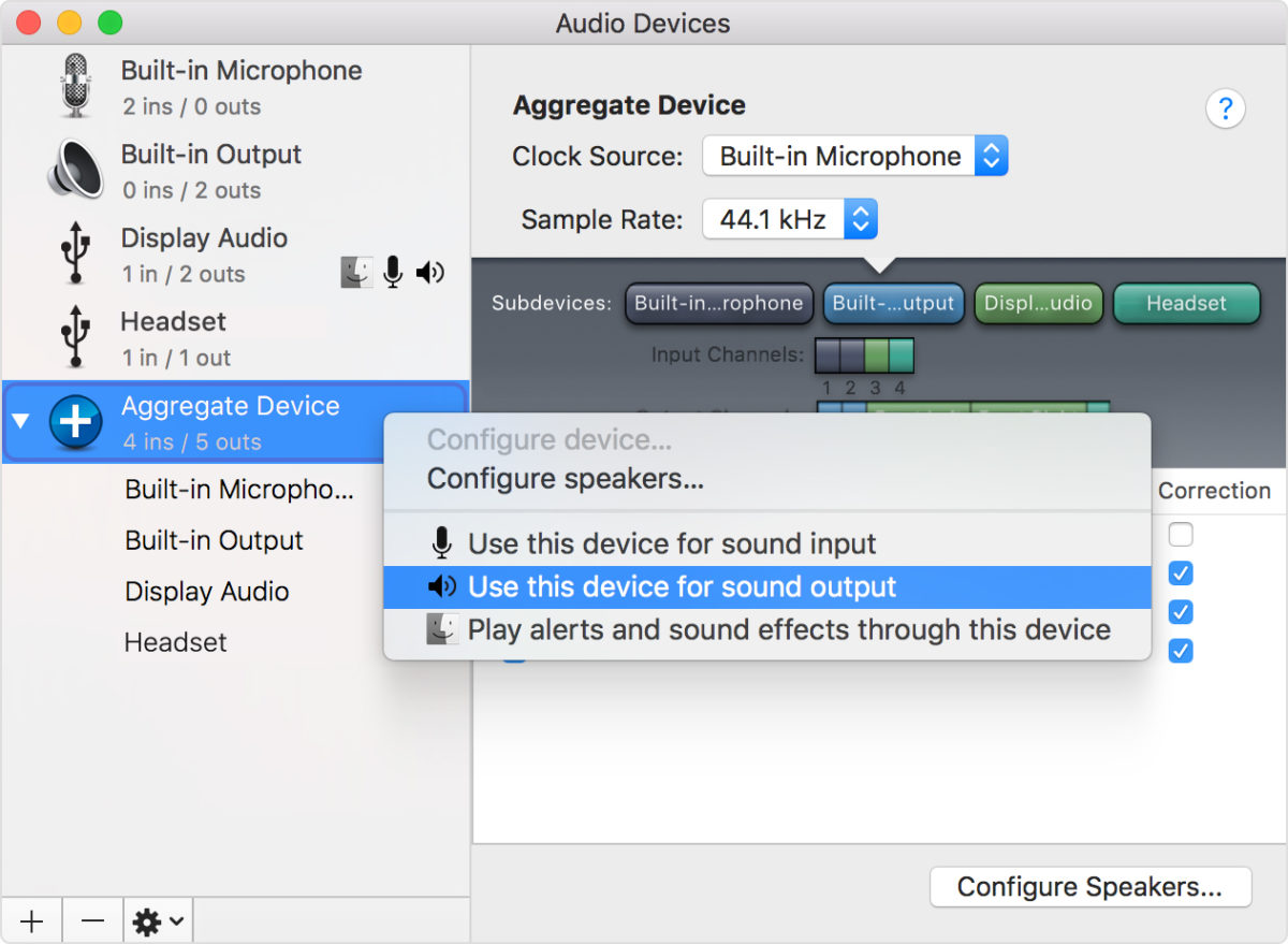 Audio Devices - Settings page Mac OS
